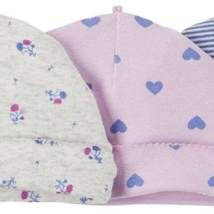 Carter's Baby Girls' 3-Pack Caps, Heart, 0-3 Month